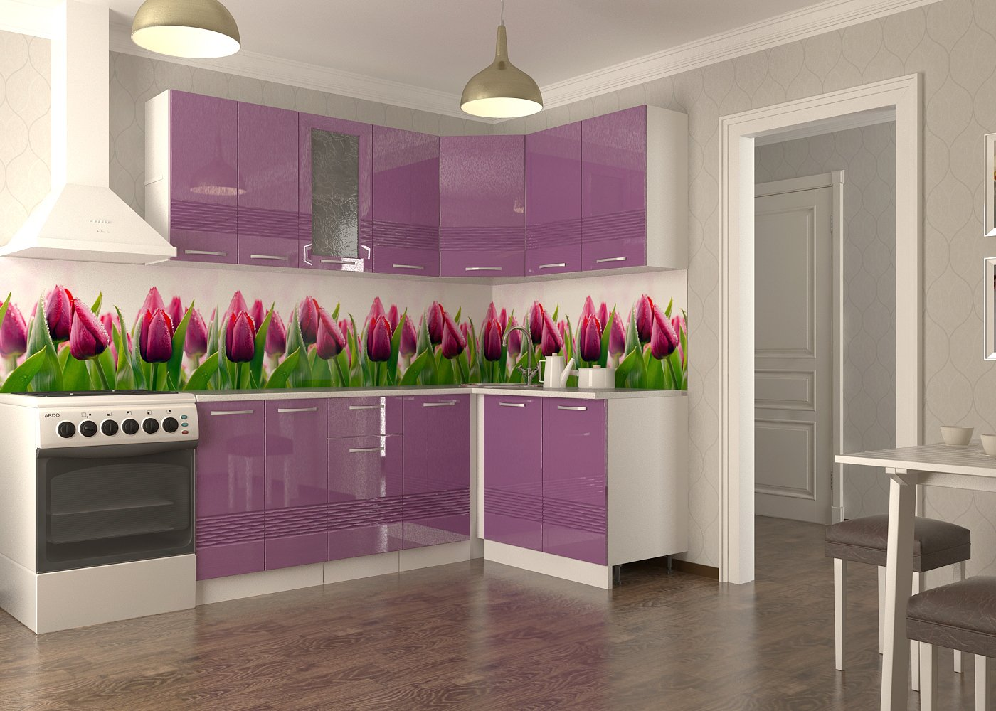 интересный дизайн кухни с тюльпанами фото вас